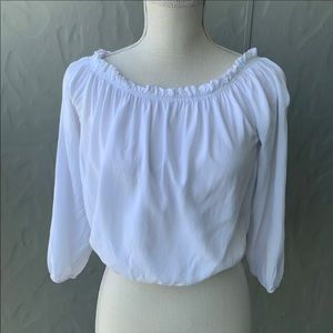Brandy Melville Maura Cropped Peasant Top White OS